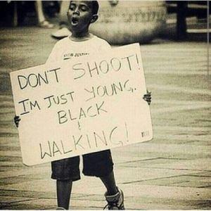 young black walking