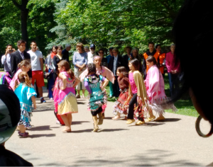 Jingle dress dancers at the Heart Gardens Ceremony, Rideau Hall, Ottawa, Canada.  June 3, 2015