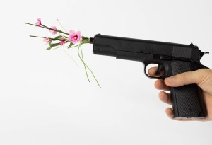 Gun with flower